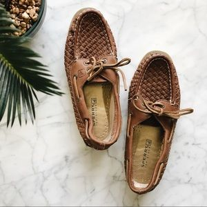 Sperry Woven Leather Top Sider Boat Loafer Shoes